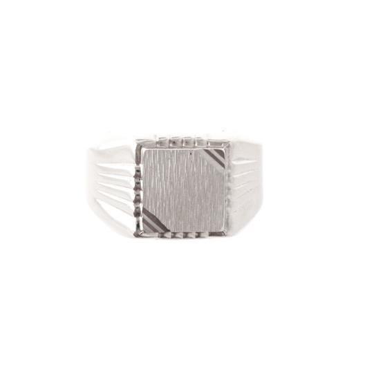 Chevalière carrée rainurée en argent