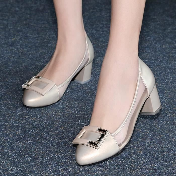 talons hauts-Pure Color Low Heel Heel Thick Wom...