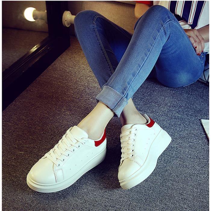 Chaussures de sport blanches muffin chaussures femmes voyagent chaussures fashionista-blanc et rouge