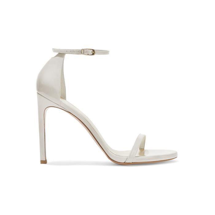 SANDALE , NU,PIEDS Chaussures femmes cuir, sandales blanches à talons