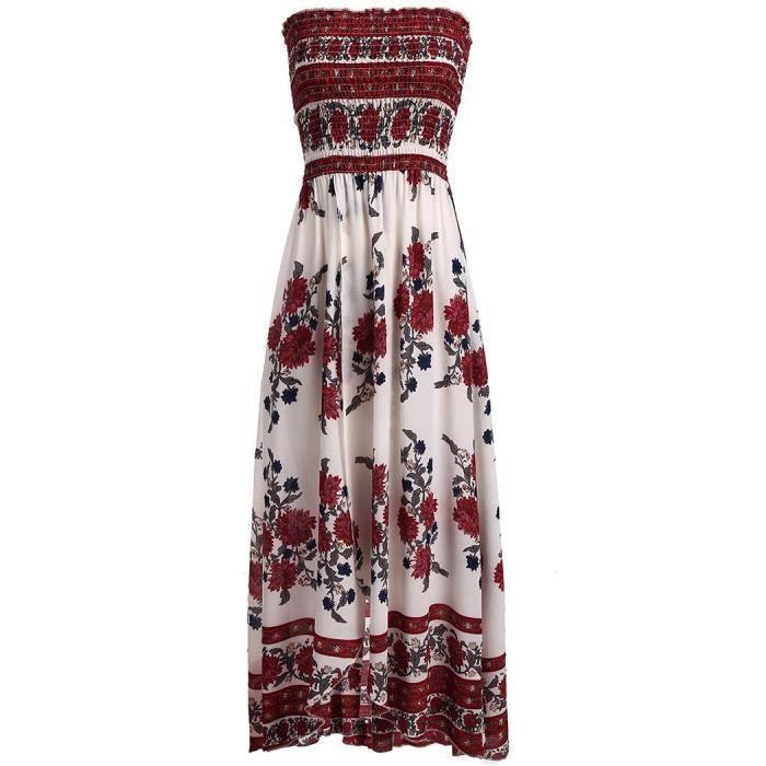 Femmes Robe longue Floral Split Bohemia Style Sans manches
