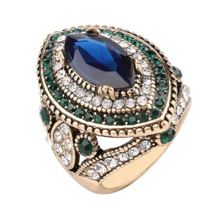 d4978b9c78d luxe produit grand nom mosaïque cristal saphir pierre rétro femelle bague  plaqué or bijoux femmes