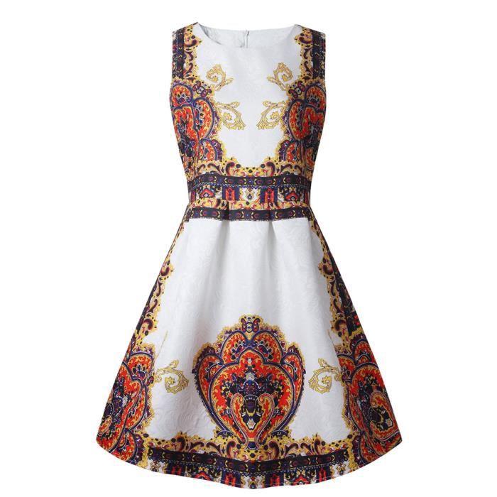 motif vintage robe de réservoir de femmes aline robe