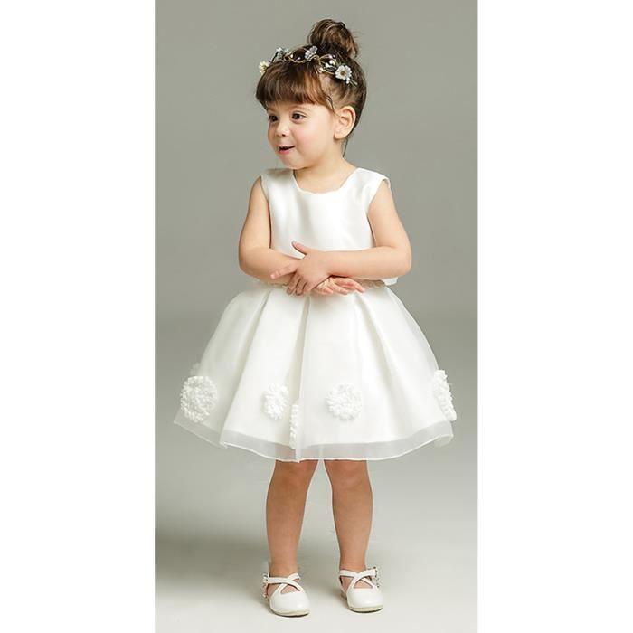 59d4eafbe4009 EOZY Robe de Cérémonie Bébé Fille Enfant Robe de Soirée Princesse en  Dentelle Mariée Noeud Papillon Blanc
