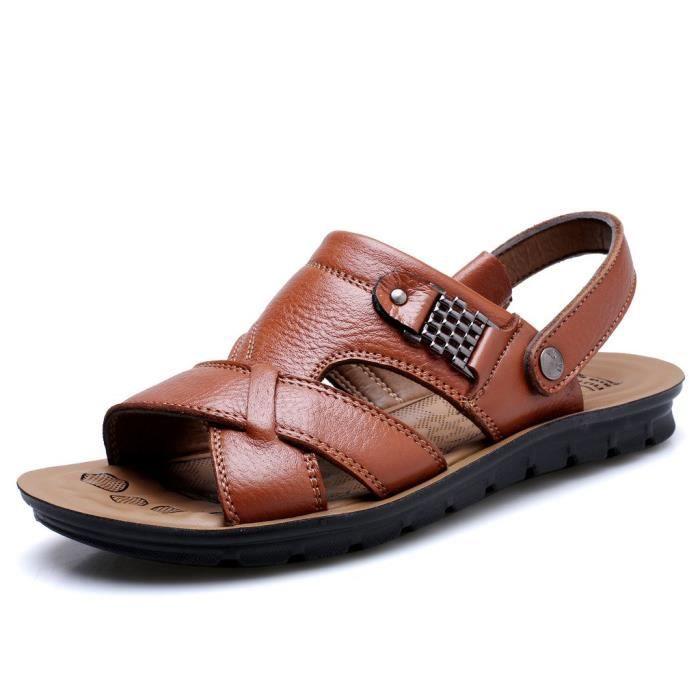 Sandales sport en cuir pour hommes Sandales d'été en plein air Pêcheur Respirant Sport Plage BNRDP 42 FDHHY