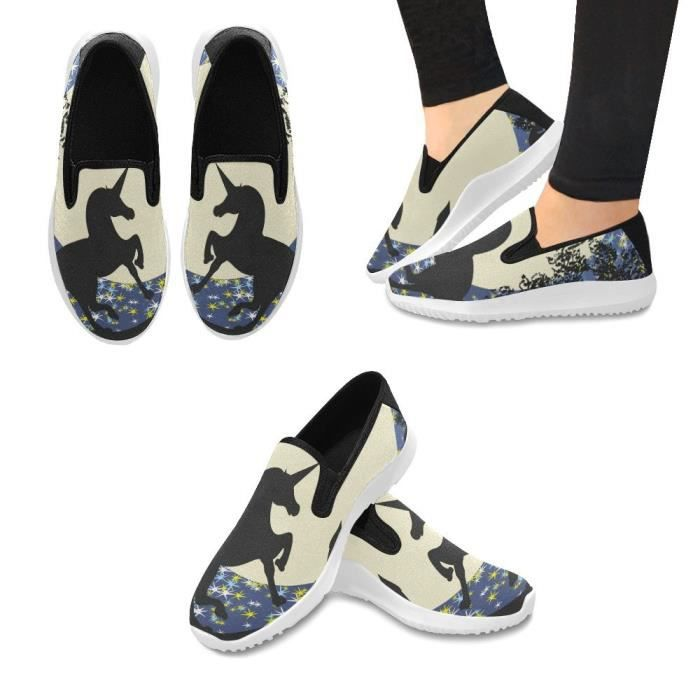 Interestprint Fashion Sneaker Painted Sunflowers Bee Slip-on Canvas Flat Shoes X0ZQC Taille-39