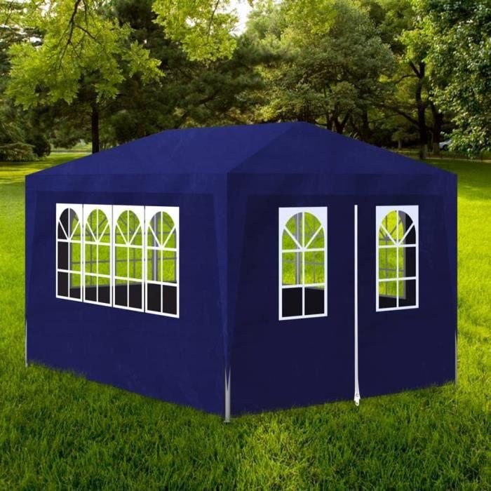 Economique Haute qualité Tonnelle de jardin Tente de réception Chapiteau  Bleu 3x4m