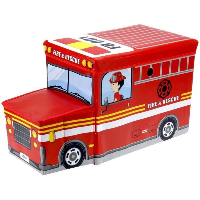pouf tabouret coffre de rangement enfant forme camion de pompiers achat vente pouf poire. Black Bedroom Furniture Sets. Home Design Ideas