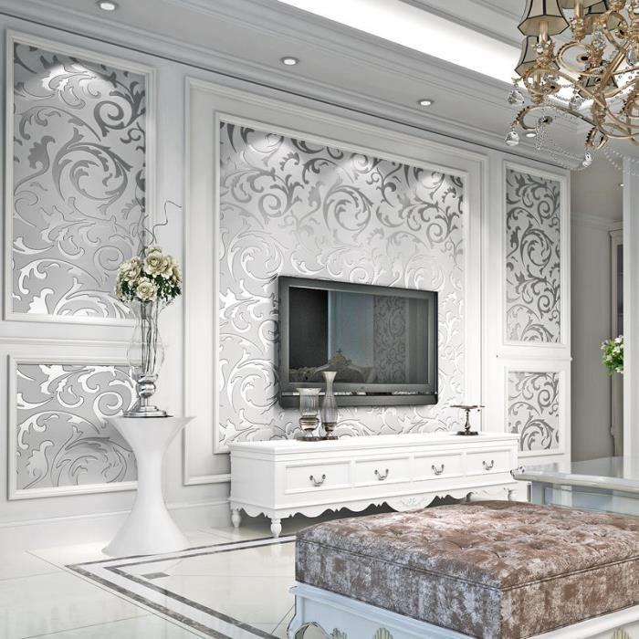 3d diy papier peint mural de style baroque golden d coration 5 argent pour salle chambre 10m x. Black Bedroom Furniture Sets. Home Design Ideas