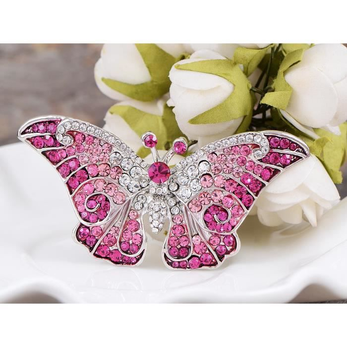 Femmes Empress Monarch Winged Papillon Cristal Swarovski Strass Broche - Violet, Vert,A8AKY