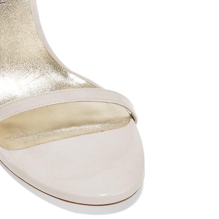 Chaussures femmes cuir, sandales blanches à talons aiguilles avec bride de cheville Nancy Jayjii.