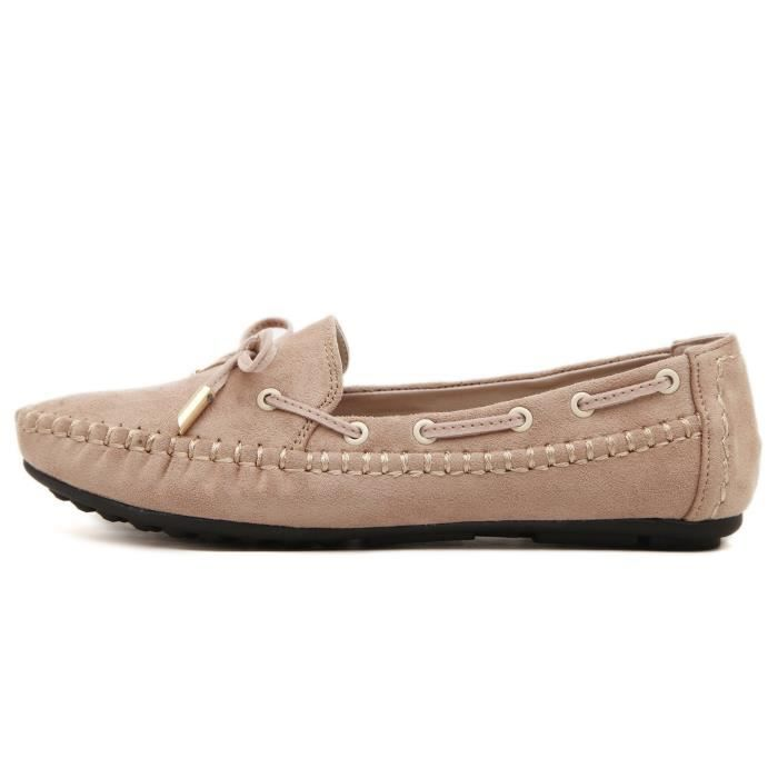 Womens Casual bowknot Mocassins Driving Mocassins Slip On Chaussures plates IIEJM Taille-36 1-2 pcg9kEQt