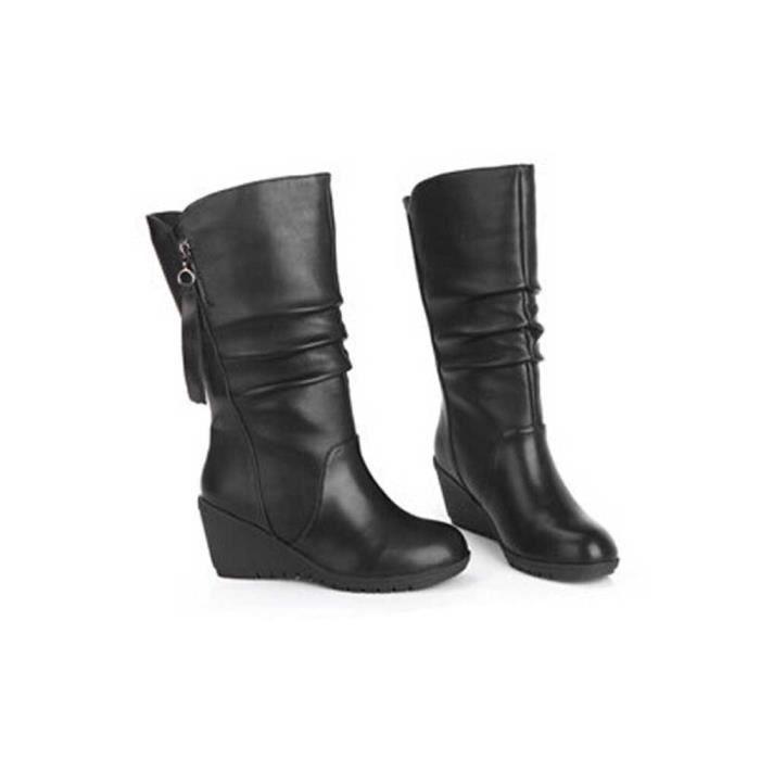 Chaud Bottines Pour Noir Compensées Chaussures Haut Zipper Automne Hiver Talon Bottes Femmes zcwqEIc