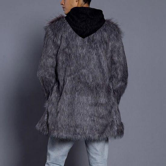 Fourrure En Manteau Mode Hommes Parka Cardigan Épais Pardessus Chaud Veste Fausse Outwear Argent 1Xq0qwZB