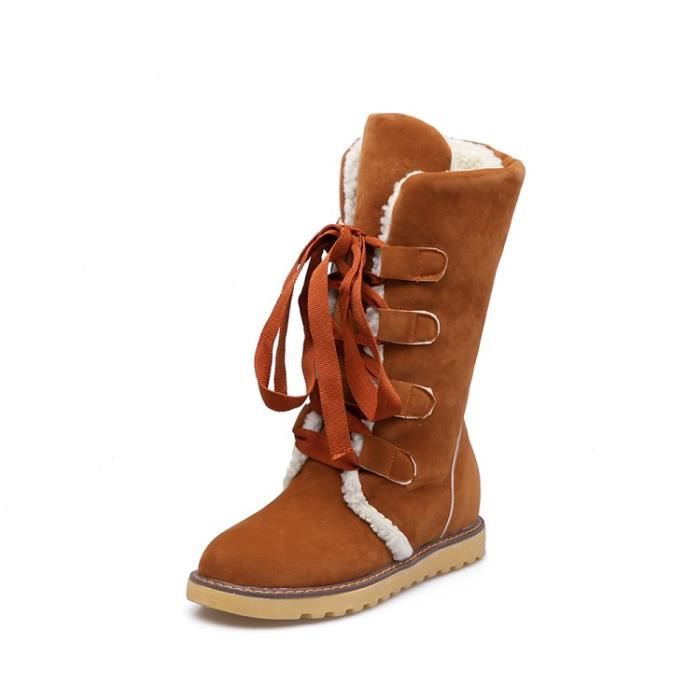 Neige Bottes Femmes Solide Suede Casual Dentell...