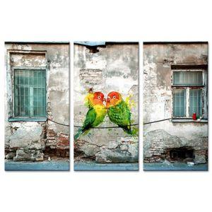 TABLEAU - TOILE Tableau Déco Triptyque Graffiti Couple de Perruche