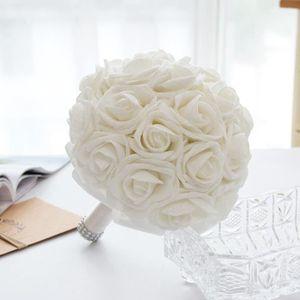 BOUQUET MARIÉE TISSU BLANC Dia. 21cm bouquet de rose Boule de fleur art