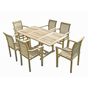 HENUA Salon de jardin en teck fauteuils empilables - Achat / Vente ...