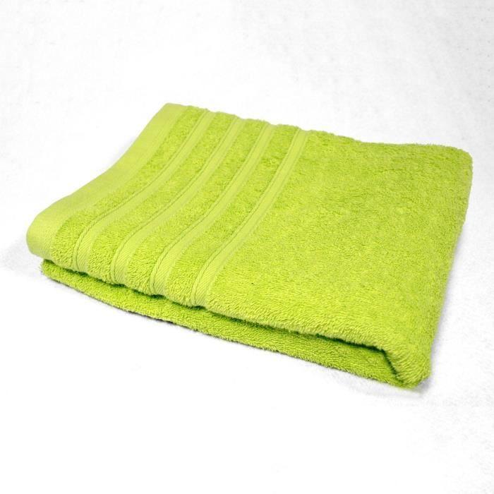 DOUCEUR D'INTERIEUR Drap de bain 100% coton Vitamine 90x150 cm anis