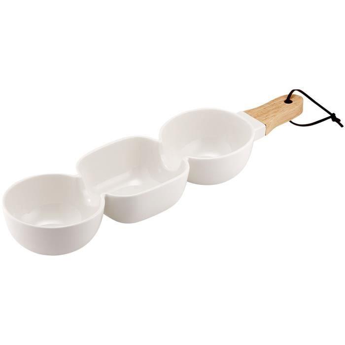 LADELLE Bol à apéritif à 3 compartiments - Blanc - Porcelaine et bambou - 40 x 9,8 x 5,2 cm