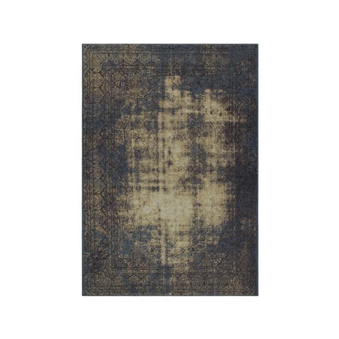 ALLOTAPIS - Tapis plat effet vintage bleu salon Sherley - 80x150cm ...