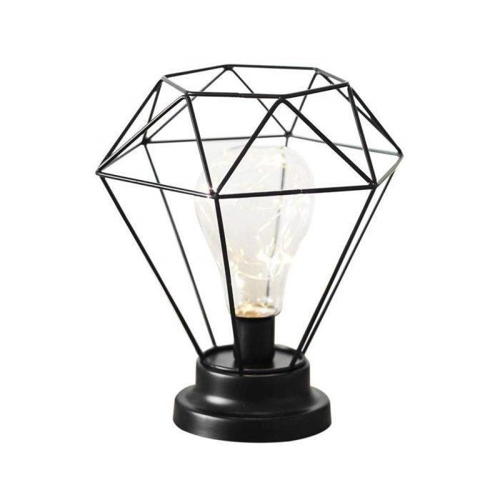 Diamond Shape Lampe En Metal Noir Lampe De Chevet Eclairage De Nuit
