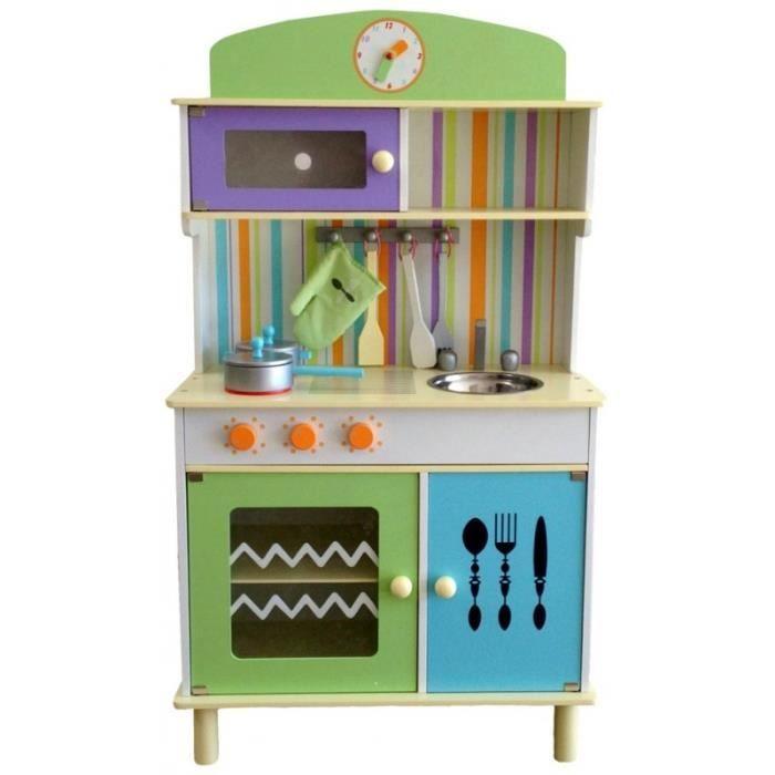 cuisine en bois avec four micro ondes et accessoires jeu d 39 imitation enfant kaley multicolore. Black Bedroom Furniture Sets. Home Design Ideas