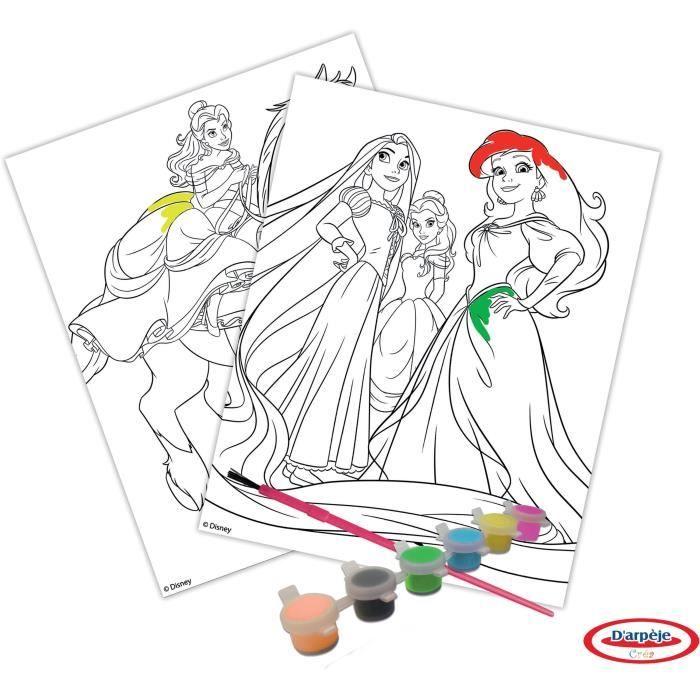 Coloriage Flash Macuine Gratuit.Princesses Set Peinture Feuilles De Coloriage Pinceau 6 Peintures A L Eau