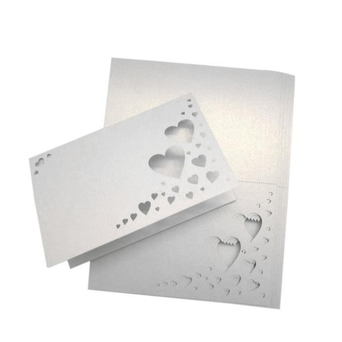 MARQUE-PLACE  50 Cartes de Place Décoration Mariage(Blanc)