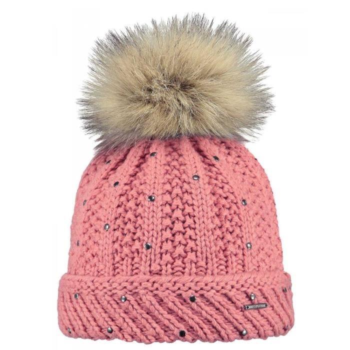 BARTS - Bonnet maille laine rose framboise pompon imitation fourrure enfant  fille 3 au 10 ans Barts 4d6ed341838