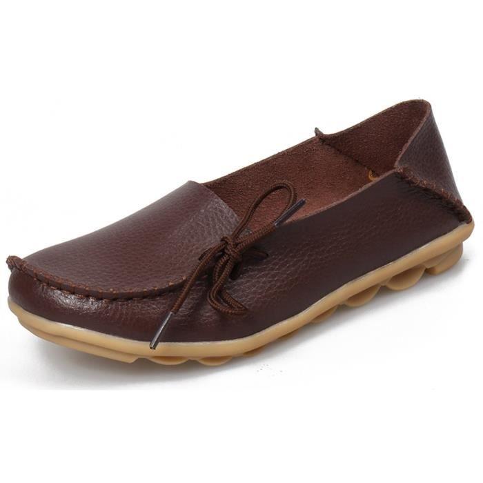 Chaussures de conduite à lacets en cuir de vachette Mocassins Chaussures bateau Flats LGSSS Taille-38 d4pnwXV0fU