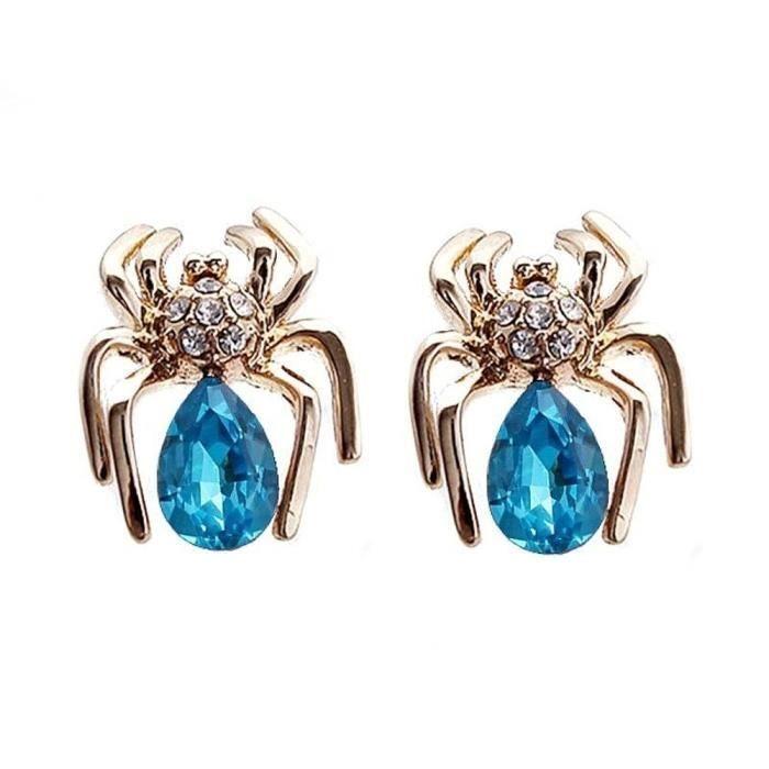 Boucles doreilles plaqué or Araignée cristal SWAROVSKI ELEMENTS bleu turquoise
