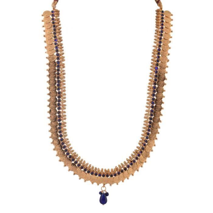 Femmes plaqué or de 1gram Lakshmi Coin Sautoir Ensemble avec Blue Sto ... 6458 BT2DK