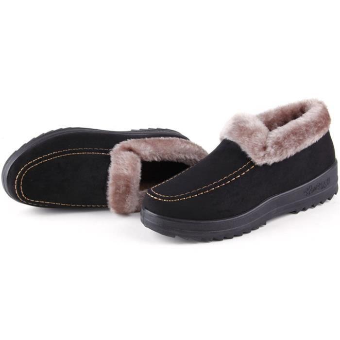 Hiver court Bottes de neige Slip-on chaud Chaussures de marche Chaussures de fourrure Alignés P9BUU Taille-36 1-2