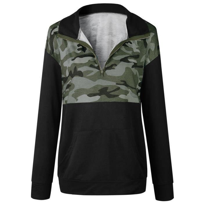 Col Spentoper Zippé Camouflage Imprimé Femmes Longues Manches Pull Sweat À Y70qRYWnr