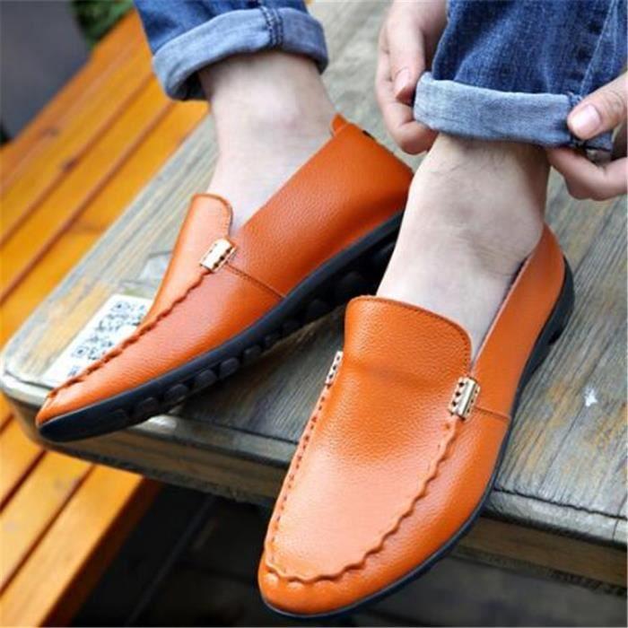 Mocassin Hommes Ete Comfortable Mode Detente Chaussures DTG-XZ75Jaune41 VMQqF