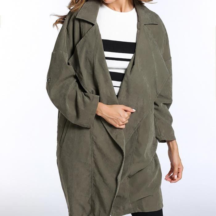 Manteaux Veste Manteau Outwear Verte Coupe Manches Parka vent Lâche Solides Longues Femmes Armée Zss71026426ag 16wIxI