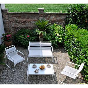 Salon bas de jardin 4 personnes : canapé en acier et cordage ...