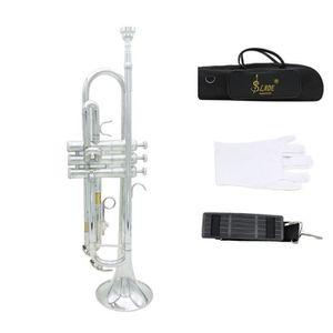 TROMPETTE Trompette Bb B Flat en Laiton Exquise avec Gants E