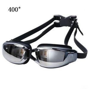 Lunettes de natation Galvanoplastie anti-buée en silicone adultes Convient  400 degrés Myopie Noir de035a7fba3c