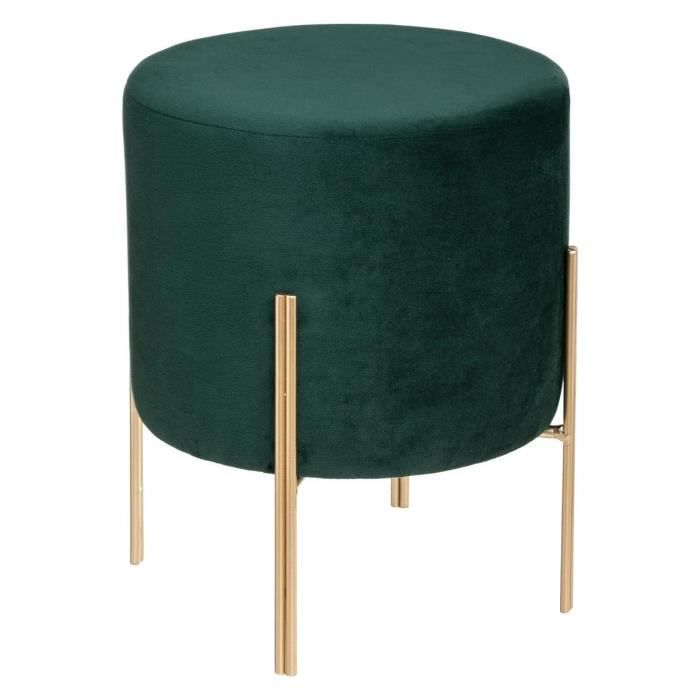Pouf Design en Velours Living - Ø 34 x H. 40 cm - Vert foncé