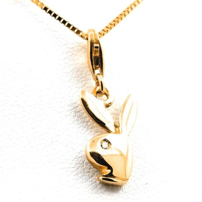 Pendentif collier 1 diamant orjaune 18K. 4,05 g