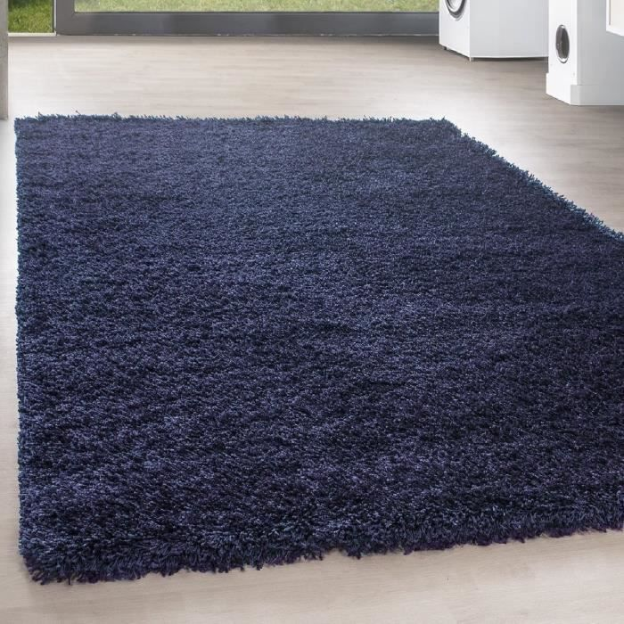 TAPIS Shaggy Shaggy Long pile pas cher bleu marine tapis