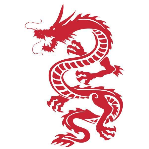 Dragon Chinois sticker décoration animal dragon chinois (60x42 cm) rouge drag003