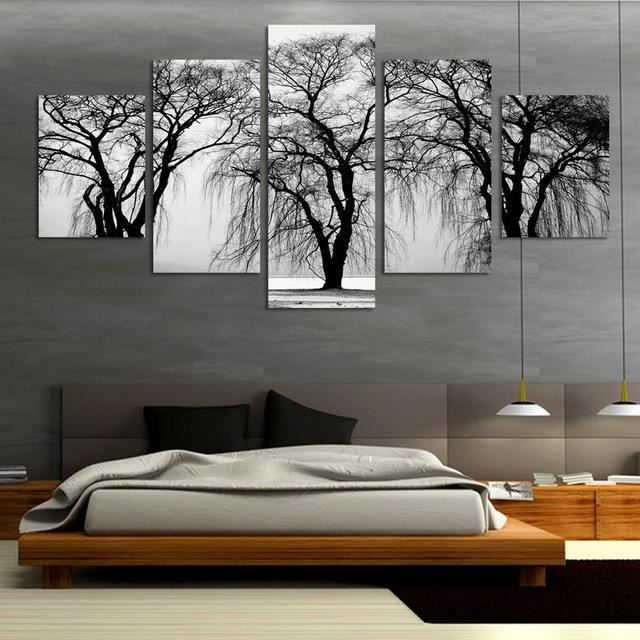 Fashion 5 Pcs Abstrait Paysage Du0027arbre Peinture Moderne En Toile Pour Salon  Art Noir Et Blanc Art Art Posters Décoration Intérieure