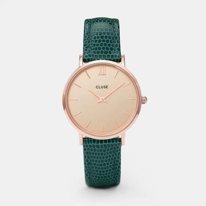 Cluse Minuit Femme 33mm Bracelet Cuir Vert Boitier Métal Quartz Montre  CL30052
