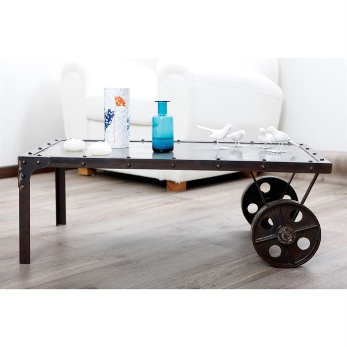 table basse industrielle m tal chariot achat vente table basse table basse chariot m tal. Black Bedroom Furniture Sets. Home Design Ideas