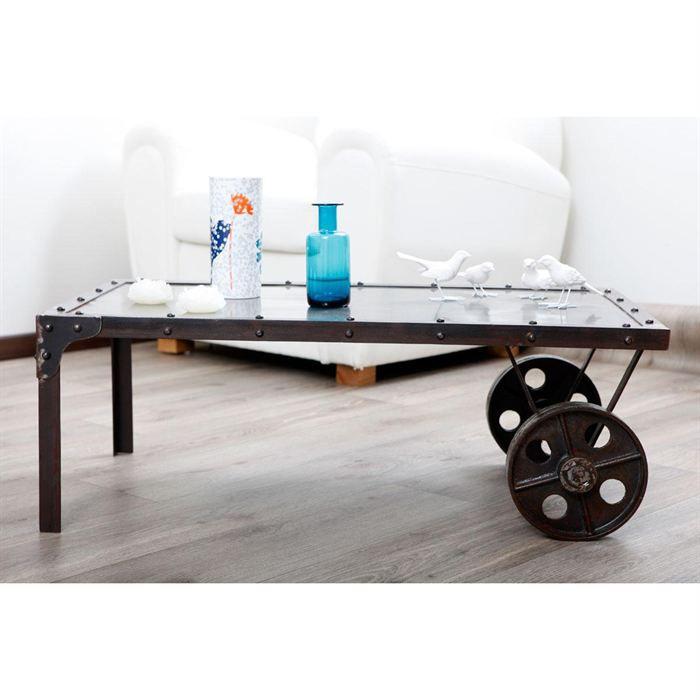 table basse industrielle m tal chariot achat vente. Black Bedroom Furniture Sets. Home Design Ideas