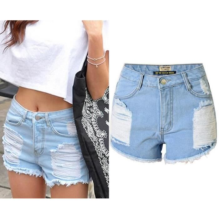 Short jeans femme taille haute déchiré à délavage sexy trou courts pantalon  en denim SIMPLE FLAVOR f8a23242a25