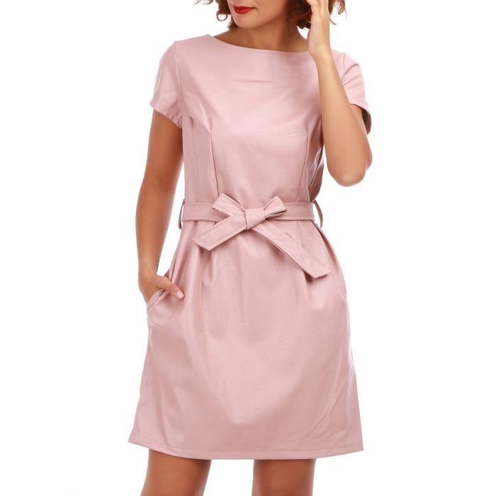 82451df0743 ROBE Robe rose poudré en simili cuir-S. Robe en simili cuir avec ceinture  femme.